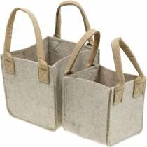 Jardinera de fieltro, fieltro beige, cesta de fieltro con asas, decoración de fieltro, juego de 2