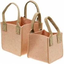 Jardinera de fieltro bolsa de fieltro rosa con asas decoración de fieltro juego de 2