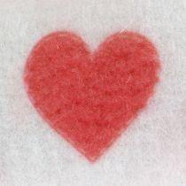 Cinta de fieltro blanca con corazón 15cm 2m