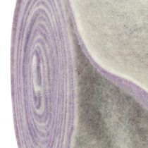 Cinta de fieltro 15cm x 5m dos tonos violeta claro, blanco
