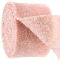 Cinta de fieltro, banda de maceta bicolor blanco / rosa 15cm 5m