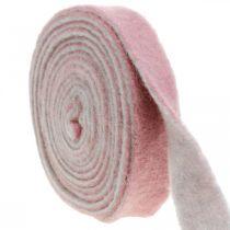 Bisagra para macetas, cinta decorativa de fieltro de lana rosa oscuro / gris An4.5cm L5m