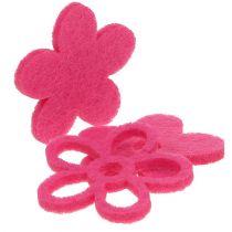 Flor de fieltro para rociar rosa como conjunto de decoración Ø4cm 72pcs