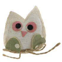 Tela decorativa búho 6cm rosa / verde / blanco 6pcs