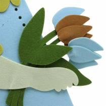 Conejo de Pascua grande fieltro crema, azul claro, 44cm H101cm decoración de la ventana