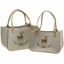 Bolsa de fieltro naturaleza con motivo de ciervo 2 piezas