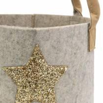 Bolso de fieltro redondo con juego de 2 estrellas de lentejuelas