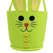 Bolsa de fieltro conejo amarillo, verde cesta de Pascua decoración de Pascua fieltro 2 piezas