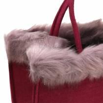 Bolso de fieltro con borde de piel rojo oscuro 38cm x24cm x 20cm