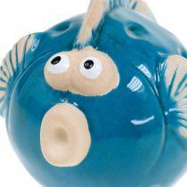 Pez de cerámica, marítimo, pez decorativo azul L11.5 4ud