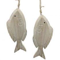 Percha decorativa pez madera 21cm 2pcs