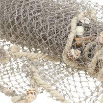 Red de pesca con conchas y madera flotante 135cm