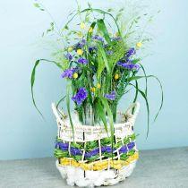 Cesta de mimbre de algas marinas, cesta decorativa, cesta de almacenamiento, cesta con asa redonda Ø36 / 28, juego de 2