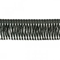 Cinta con flecos, borde de cordón, flecos leonianos negro An4cm L25m