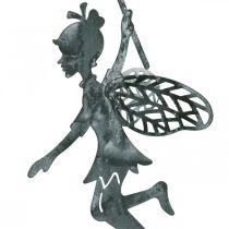 Decoración de primavera, duende con diente de león, colgante de decoración de hadas de flores, decoración de metal 3 piezas