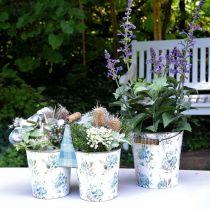 Decoración de primavera, cubo de metal, patrón de flores de cubo de planta, decoración de metal H15 / 11 / 9.5cm juego de 3