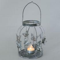 Decoración de primavera, farol con mariposas, farol de metal, verano, decoración de velas