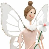 Hada de primavera con flor, decoración de metal, hada de flor, primavera, decoración de duende