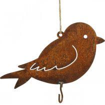 Pájaro decorativo, colgador de comida, decoración de metal acero inoxidable 19 × 13,5cm