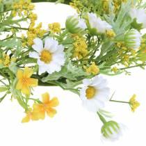 Corona de flores con anémona de madera blanca, amarilla Ø30cm