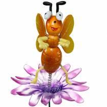 Alfiler de flor abeja en flor con resortes de metal naranja, violeta H74cm