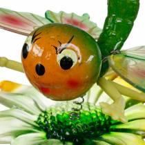 Enchufe decorativo mariposa y flor con resortes de metal verde, naranja Al70cm