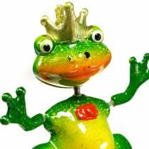 Tapón de jardín rana rey con resorte de metal verde, amarillo, dorado H68.5cm