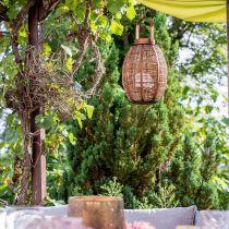 Farol trenzado, decoración de velas, farol de madera con mango Ø25cm H34.5cm