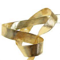 Cinta de regalo dorada con borde de alambre 25m