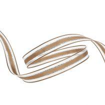 Cinta de regalo con borde de alambre marrón claro 15mm 20m