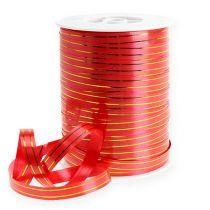 Cinta de regalo 2 franjas doradas en rojo 10 mm 250m