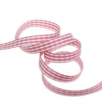 Cinta de regalo a cuadros rosa 15mm 20m