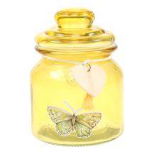 Tarro de cristal Bonboniere amarillo Ø11cm H15,5cm