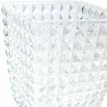 Patrón de facetas de cubo de linterna de vidrio, decoración de mesa, jarrón de vidrio, decoración de vidrio 2 piezas
