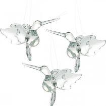 Decoración de vidrio aves del paraíso, decoración de colibrí, colgante de vidrio, decoración de aves 3 piezas