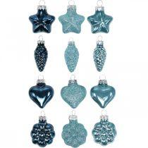 Mini adornos para árboles de Navidad mezcla de vidrio azul, brillo surtido 4cm 12pcs