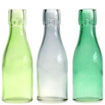 Jarrón para botellas de vidrio Ø5cm H16cm Verde / Gris 6pcs