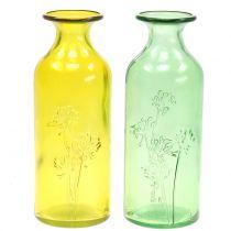 Botella de florero de vidrio amarillo, verde H19cm 2pcs