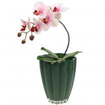 "Florero de vidrio ""Bloom"" Verde Oscuro Ø14cm H17cm"