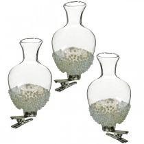 Jarrón de vidrio con clip glitter y perlas Ø4.9cm H9.5cm transparente 3ud