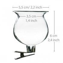 Campana de florero de vidrio con clip transparente Ø5.5cm H6cm 4pcs