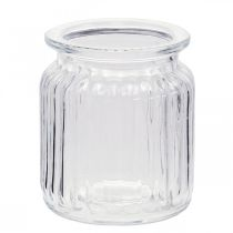 Florero de vidrio acanalado Ø7.5cm H9cm