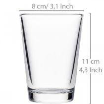 Florero de vidrio transparente Ø8cm H11cm para decoración de mesa