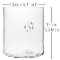 Florero de vidrio cilíndrico Crackle clear, satinado Ø13cm H13.5cm