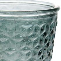 Farol con pie, copa de cristal, cristal decorativo gris Ø10cm H18.5cm