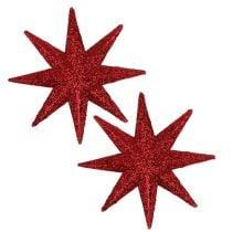 Estrella purpurina roja Ø10cm 12pcs