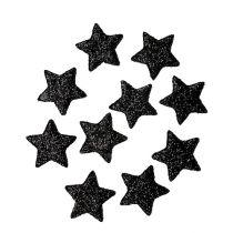 Estrella de purpurina negro 2.5cm 100pcs