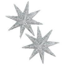 Estrella purpurina plata Ø10cm 12pcs