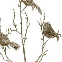 Rama brillante con pájaros de oro 75cm