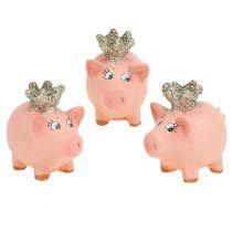 Lucky pig pink con corona 4cm 6pcs